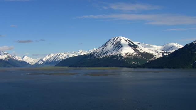 Panning shot of lake and mountains in Alaska video