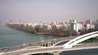 panning shot of Lyon Cityscape with Rhone River video