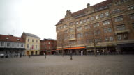 Panning Shot of Malmo downtown Little square Lilla Torg Sweden video