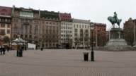 Panning Shot of Malmo downtown Stortorget Square Torg Sweden video