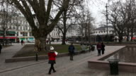 Panning Shot of Malmo downtown town square torg Sweden video