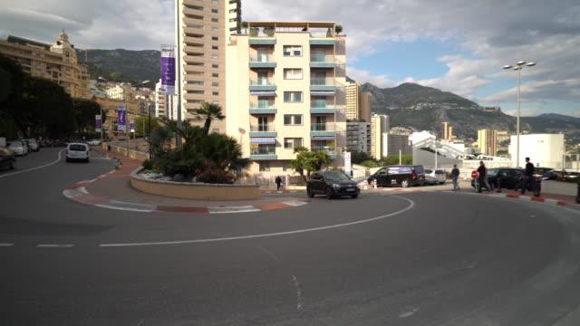 panning shot of Monaco Grand Prix famous curve track video