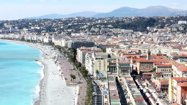 Panning shot of Nice Beach Harbour French Riviera France video