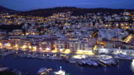 panning shot of Nice Marina Port French Riviera France night video