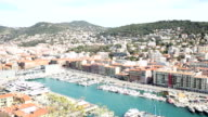 panning shot of Nice Marina Port French Riviera France video