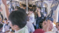 Panning shot of People travelling by train,Time Lapse video