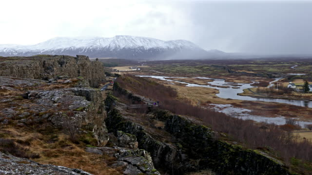 Panning shot of Pingvellir Thingvellir National Park Iceland video