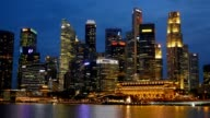 Panning shot of Singapore skyscrapers at nighttime video