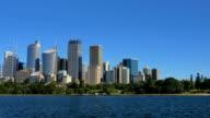 Panning shot of Sydney City Skyline (4K/UHD to HD) video