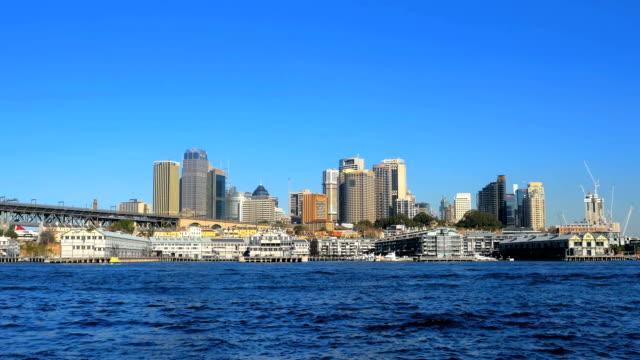 Panning shot of Sydney Harbor, Sydney CBD and Sydney Harbor Bridge (4K/UHD to HD) video