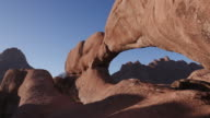4K panning shot of the famous rock arch of the Spitzkoppe mountains video