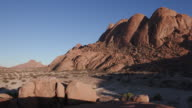 4K panning shot of the granite peaks of the Spitzkoppe mountains video