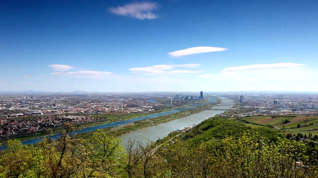 Panning shot of the Skyline of Vienna and the Danube video