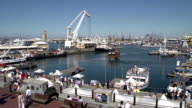 Panning shot of the Victoria and Alfred Waterfront,Cape Town,South Africa video