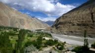Panning shot of turtuk village, Diskit, Jammu and Kashmir, India video