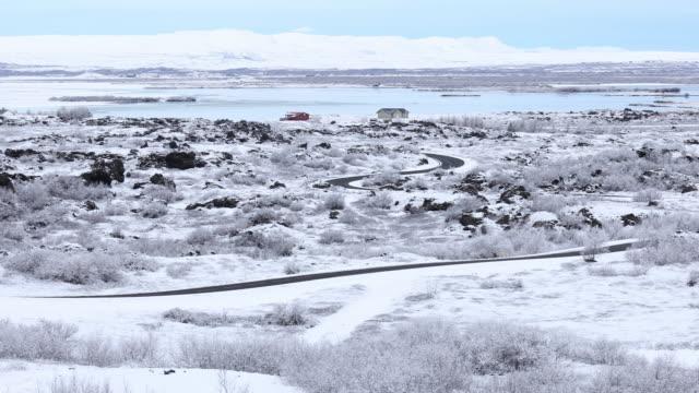 Panning shot of Winter landscape at Dimmuborgir Lake Myvatn, Iceland video