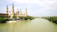 HD: panning shot: Our Lady of the Pillar Basilica Zaragoza, Spain video