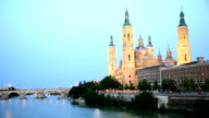HD Panning shot: Our Lady of the Pillar Basilica Zaragoza, Spain video