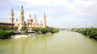HD: panning shot: Our Lady of the Pillar Basilica Zaragoza, Spain video