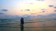 Panning Shot: Romantic Couples walking at beach sunset video