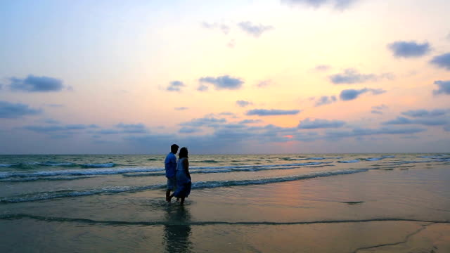 Panning Shot: Romantic Couples walking at beach sunset video