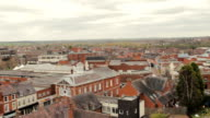 Panning shot, showing grey slate, tiled roofs of Tamworth town video