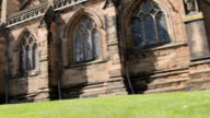 Panning Shot showing Lichfield cathedral in all Gothic Grandeur video