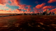 Panning Skyline Cityscape At Sunset 3D Animation video