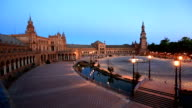 HD Panning: Spanish Square espana Plaza in Sevilla Spain night video