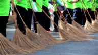 HD Panning: staff are cleaning up the streets and marched forward. video