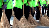 HD Panning: Street cleaners and brooms video