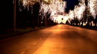 HD Panning: Street lights adorn at trees along the route. video