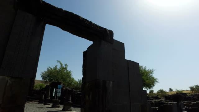 Panning Through Old Doorway to Synagogue Ruins video