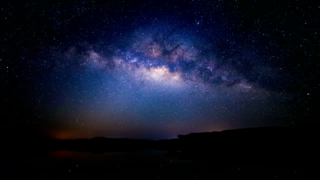 Panning Time lapse of milky way and sunrise, Sam Pan Bok canyon, Ubon ratchathani, Thailand video