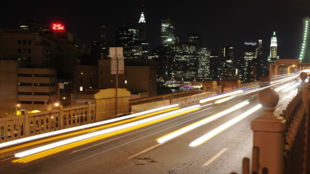 Panning Timelapse - Night Traffic Brooklyn Bridge video