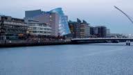 Panning timelapse of Liffey river in Dublin Ireland video