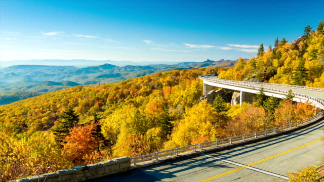 Panning Towards Linn Cove Viaduct from Mountain Range with Traffic video