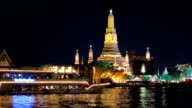 panning: transportation on river at Wat Arun, Bangkok, Thailand video