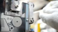 panning: using grinder to cut plastic extrude to form plastic pellet video
