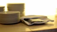 panning: utensils for dinner video