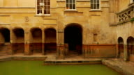 Panning view of the famous Roman spa in Bath, UK video