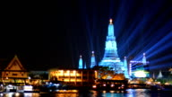 panning: Wat Arun in New Year celebration, Bangkok, Thailand video