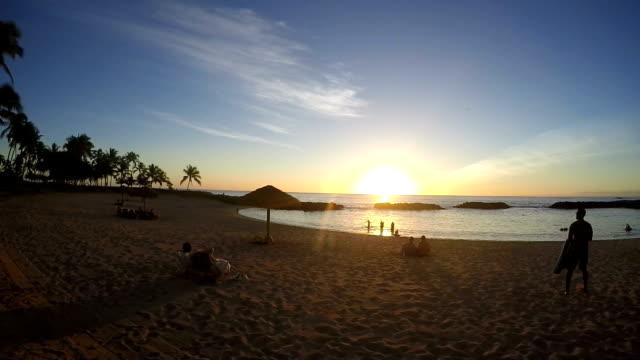 Panning Wide Angle of Beautiful Hawaiian Sunset video