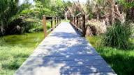 HD Panning: Wooden bridge walkway in the park. video