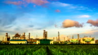 Panning Working of Oil Refinery Plant at Day to Night video