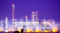 Panning Working of Oil Refinery Plant at Night Zoom Out video