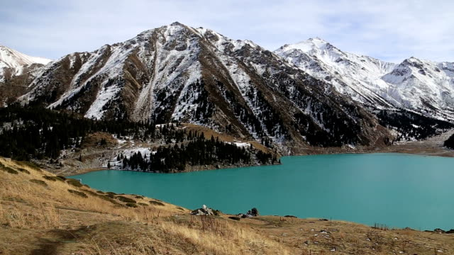 Panorama background of fairy amaizing beautifull nature lake landscape high in the mountains video