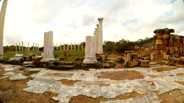 Panorama central square Roman Agora Cloudy day after rain  antique town Salamis video