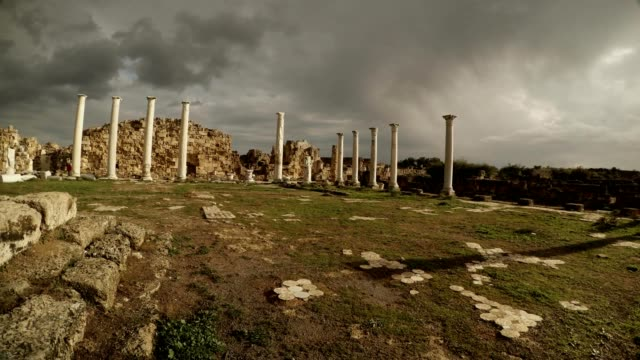 Panorama Colonnade of Roman Agora beautiful cloudly sky antique town Salamis Famagusta video