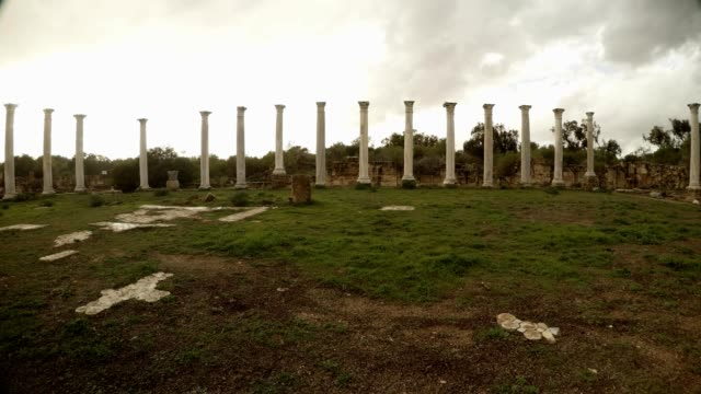 Panorama Colonnade of Roman Agora cloudly sky antique town Salamis video